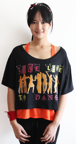 rifera LiveLifeToDance bamboo crop top_black (blw015)