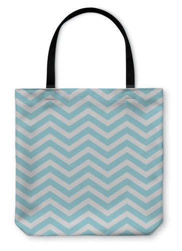Tote Bag, Teal And White Zigzag D Fabric - hopkins-barn