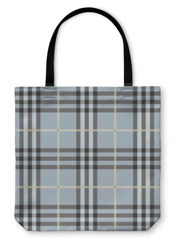 Tote Bag, Modern And Trendy Light Blue Plaid Pattern - Hopkins Barn