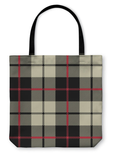 Tote Bag, Black And White Fabric In A Square Pattern - Hopkins Barn