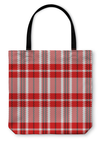 Tote Bag, Chinese Plastic Woven Checkered Bag Pattern In Red Black And White - Hopkins Barn