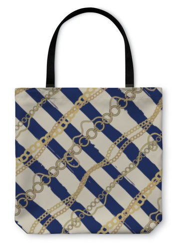 Tote Bag, Diagonal Plaid In Nautical Style Of The Strips And Chains And Ro - Hopkins Barn
