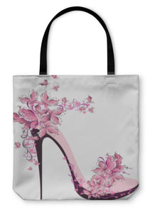 Tote Bag, Shoes On A High Heel Decorated With Butterflies - hopkins-barn