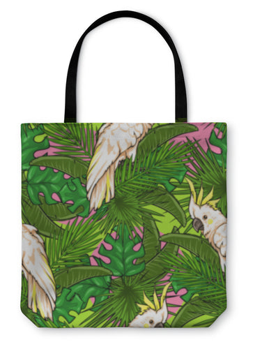 Tote Bag, Pattern With Palm Leaves And Parrots - hopkins-barn