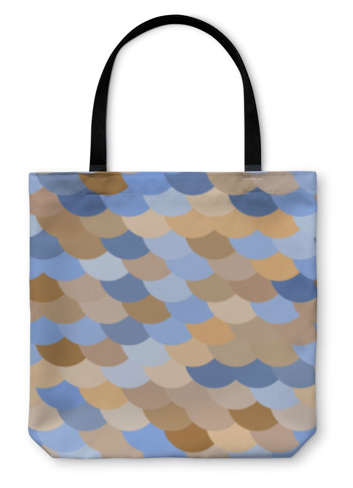 Tote Bag, Colorful Fish Or Snake Skin Scale Pattern In Blue And Brown - Hopkins Barn