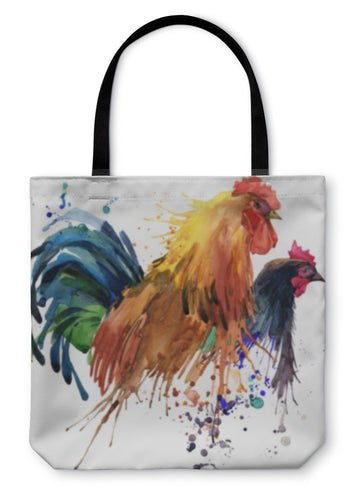 Tote Bag, Chicken And Rooster Tshirt Graphics Chicken And Rooster Family Illustration - Hopkins Barn