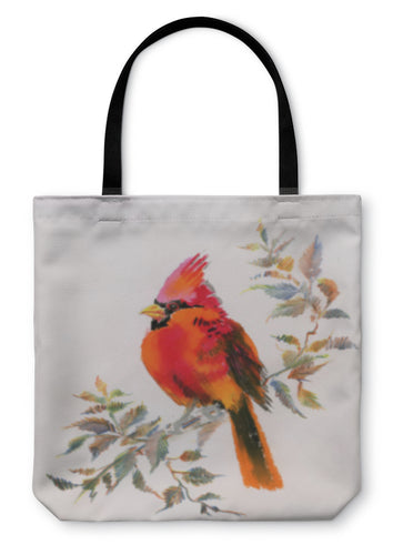 Tote Bag, Watercolor Painting Of Cardinal Bird Sitting On A Branch - hopkins-barn