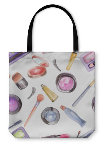 Tote Bag, Watercolor Cosmetics Pattern - hopkins-barn