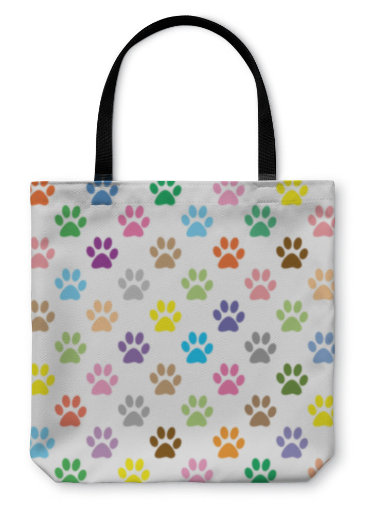Tote Bag, Colorful Puppy Paw Prints Illustration - Hopkins Barn