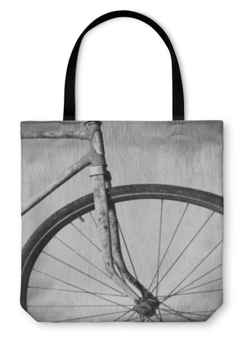 Tote Bag, Old Rusty Bicycle Black And White Photo - Hopkins Barn