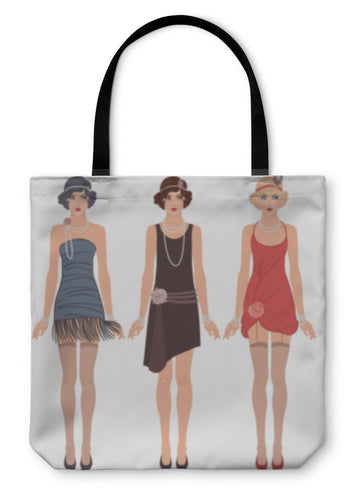 Tote Bag, Three Young Flapper Women Of 1920s - hopkins-barn