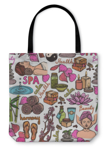 Tote Bag, Spa Sketch Pattern Color - hopkins-barn