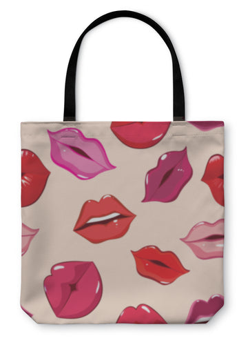 Tote Bag, Pattern Print Of Lips - Hopkins Barn