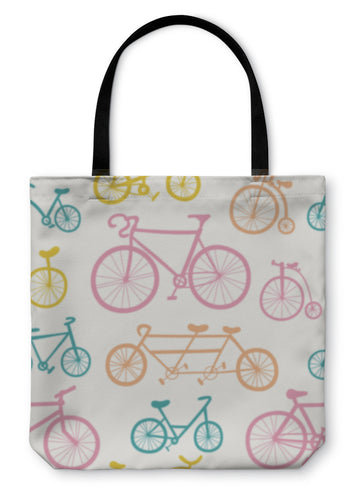 Tote Bag, Pattern With Bicycles - hopkins-barn