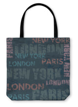 Load image into Gallery viewer, Tote Bag, Typographic Poster Design With City Names London Paris And New York - hopkins-barn