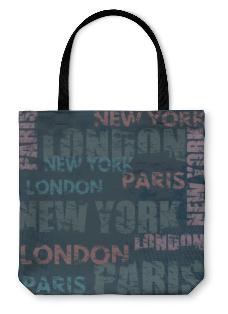 Tote Bag, Typographic Poster Design With City Names London Paris And New York - hopkins-barn