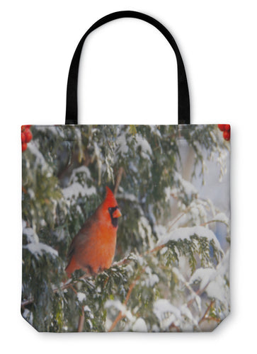 Tote Bag, Male Northern Cardinal In The Snow - Hopkins Barn