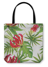 Load image into Gallery viewer, Tote Bag, Gloriosa Exotic Tropical Flowers And Palm Leaves Pattern - Hopkins Barn