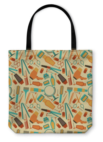 Tote Bag, Hairdressing Tools Pattern In Retro Style - Hopkins Barn