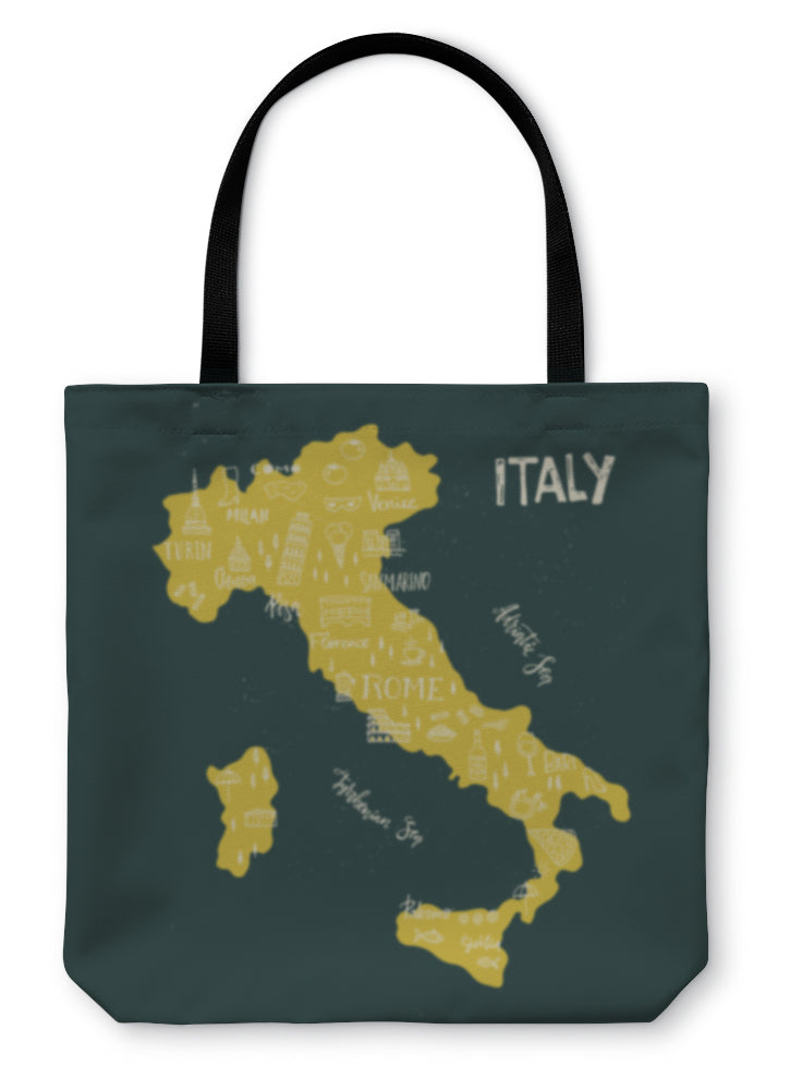 Tote Bag, Handdrawn Symbols Of Italy On Map - Hopkins Barn