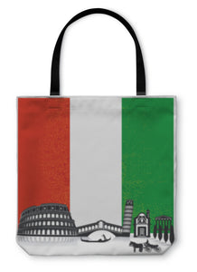 Tote Bag, Italy With Flag - Hopkins Barn