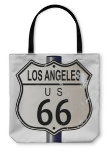Tote Bag, Los Angeles Route 66 Sign - Hopkins Barn