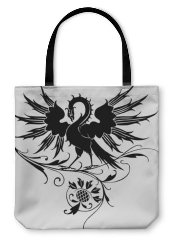 Tote Bag, Fire-bird Phoenix Bird With Flower Ornaments - Hopkins Barn