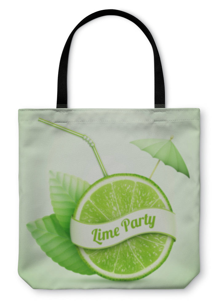 Tote Bag, Fresh Lime With Ribbon And Cocktail Stick - Hopkins Barn