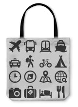 Load image into Gallery viewer, Tote Bag, Travel Flat Icons Black - hopkins-barn