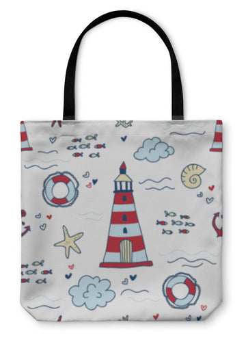 Tote Bag, Nautical Pattern With Lighthouses - Hopkins Barn