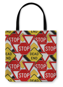 Tote Bag, Traffic Signs Pattern - hopkins-barn