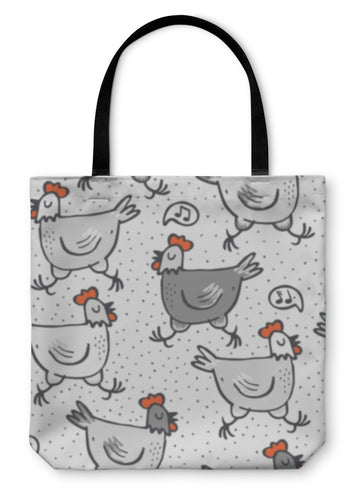 Tote Bag, White Gray Singing Hens Run Animals Wildlife Pattern On White - hopkins-barn