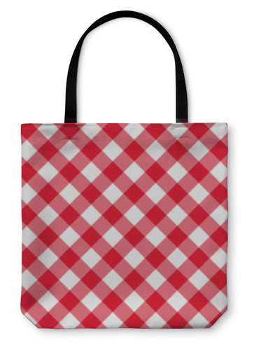 Tote Bag, Table Diagonal Cloth Pattern Red Middle Size - hopkins-barn