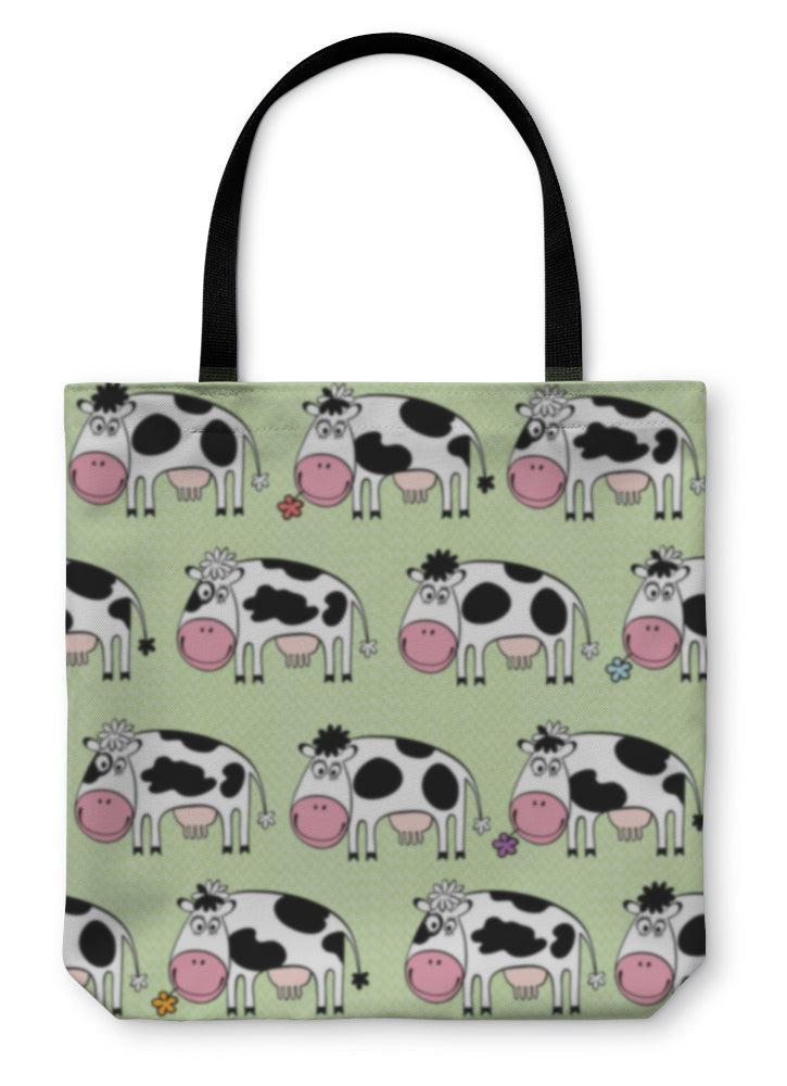 Tote Bag, Cartoon Cows Illustration - Hopkins Barn