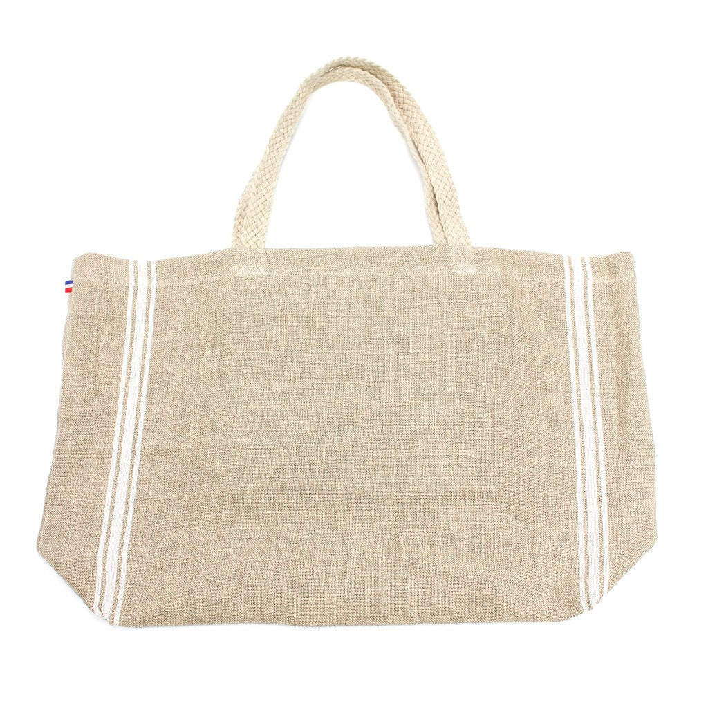 Linen Beach Tote with Braided Handle