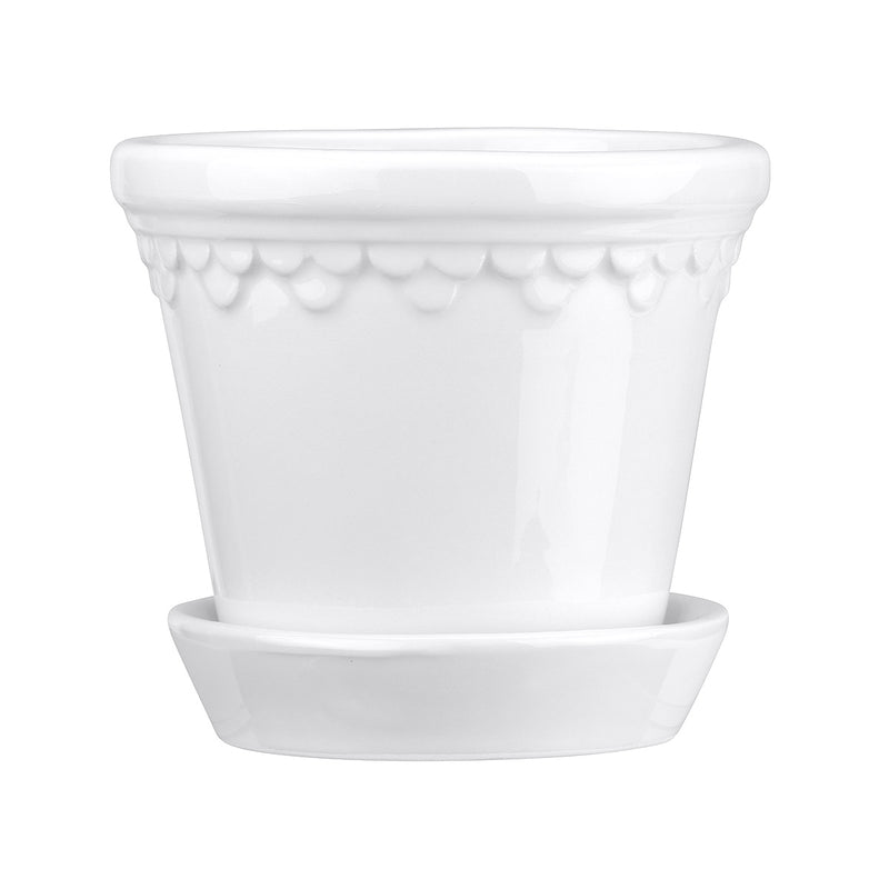 Copenhagen Pot & Saucer - Glazed White