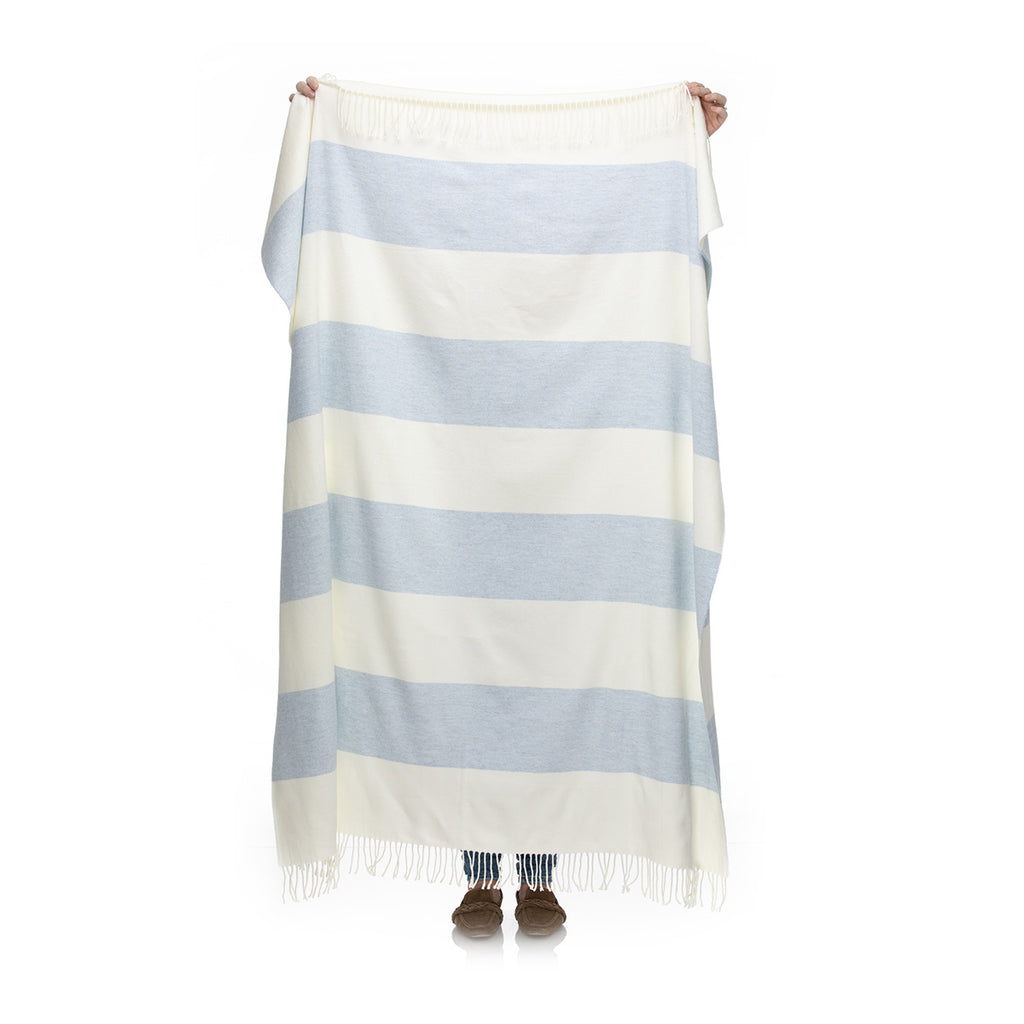 MH Stripe Throw - Heron Blue