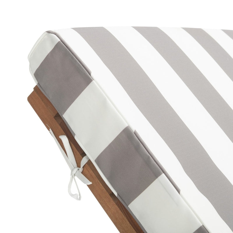Hampton Chaise with Side Table - Natural Grey & White Stripe