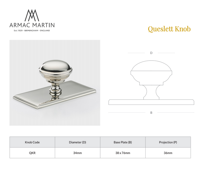 Queslett Knob with Rectangular Backplate