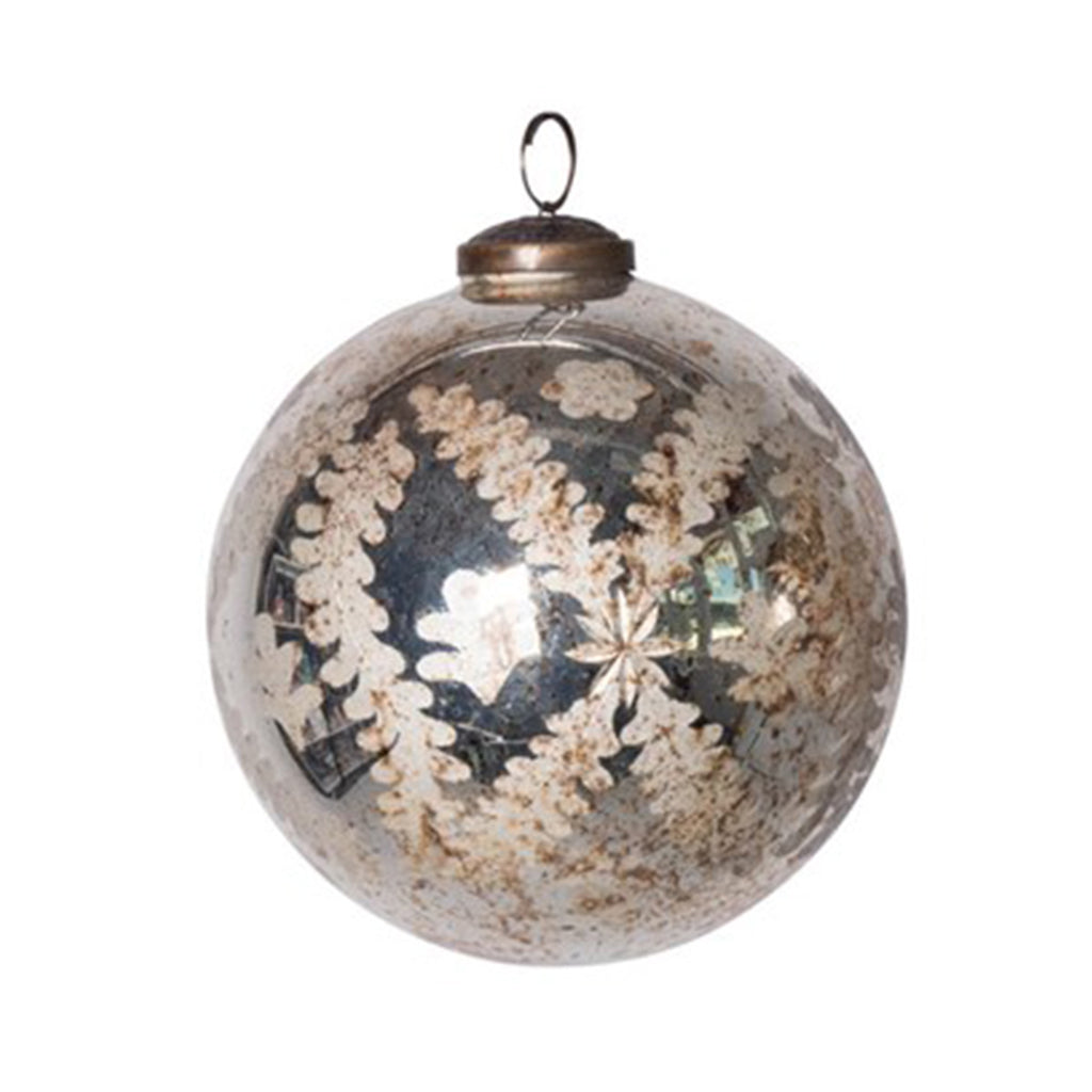 Spruce Etched Mercury Glass Ball