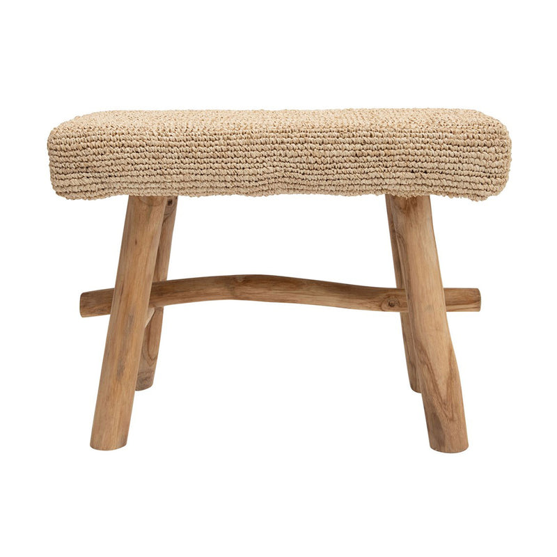 Woven Mendong Covered Stool w/ Teak Wood Legs