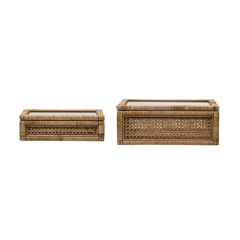Woven Rattan & Wood Display Boxes w/ Glass Lid, Set of 2