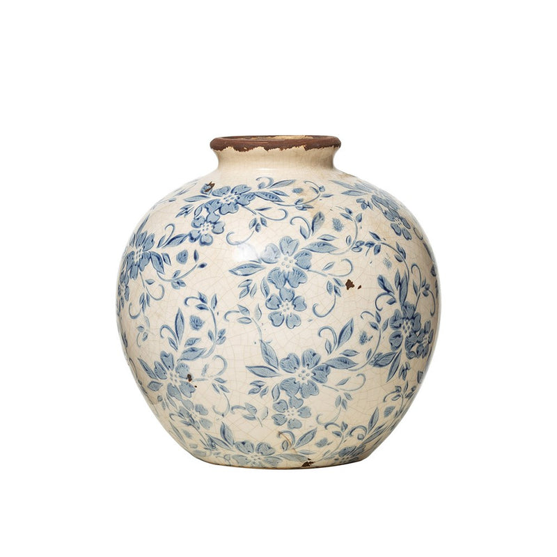 Terracotta Vase with Floral Pattern