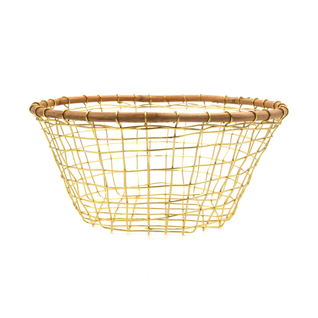 Gold Wire & Cane Round Basket