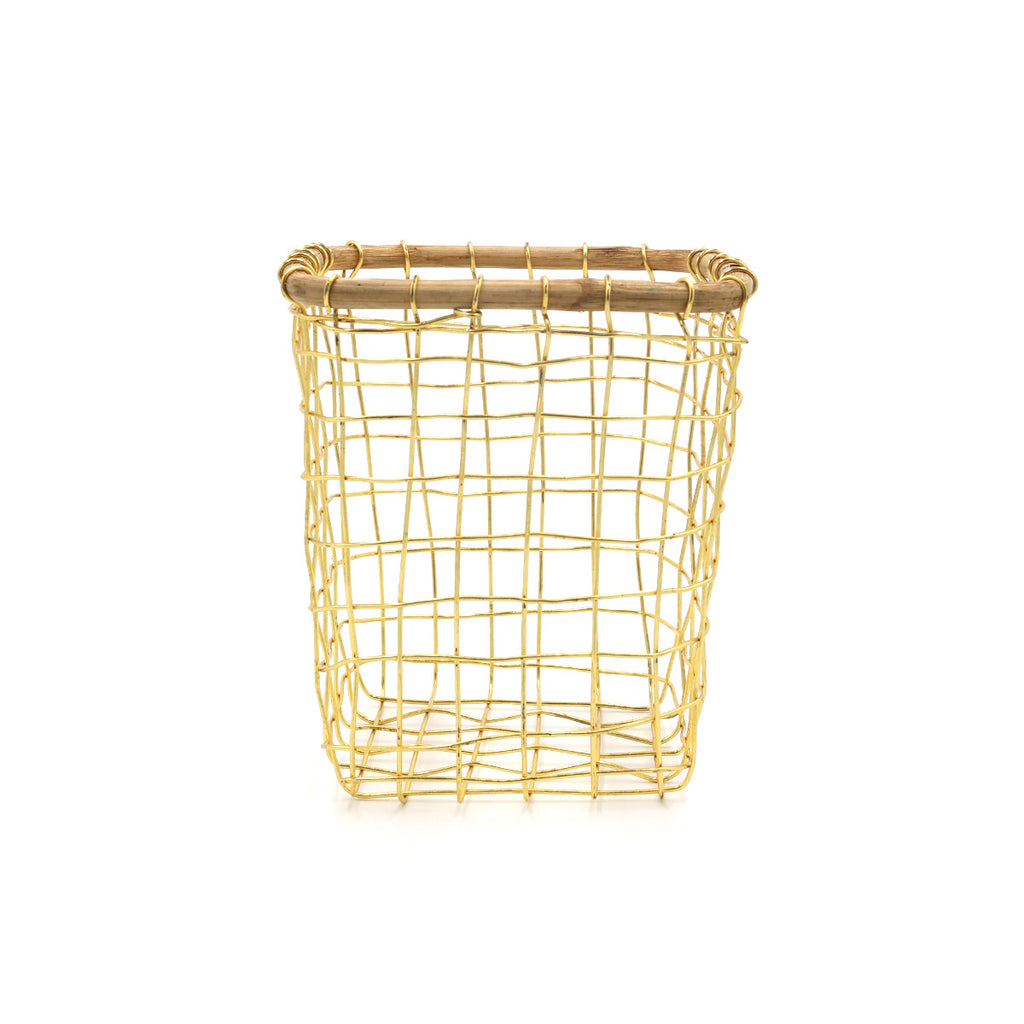 Gold Wire & Cane Utensil Holder