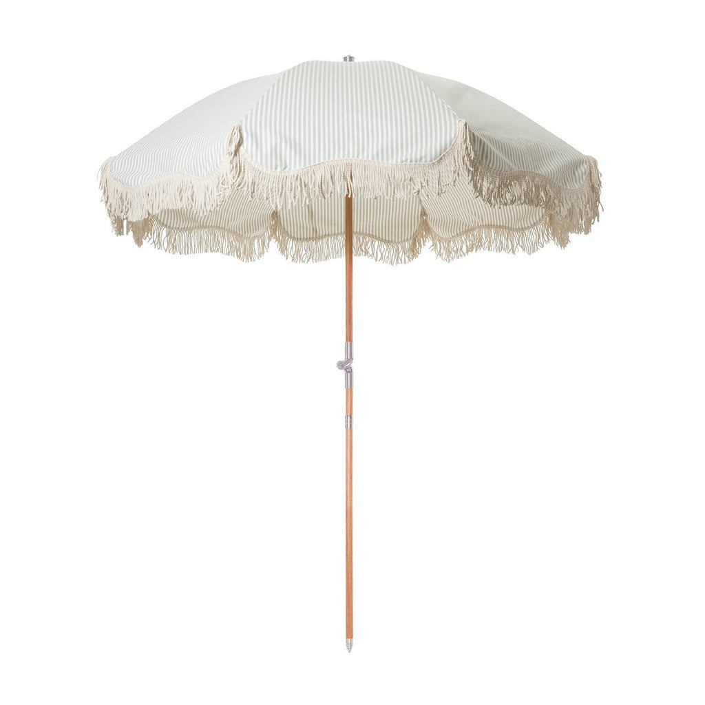 Premium Beach Umbrella - Sage Stripe