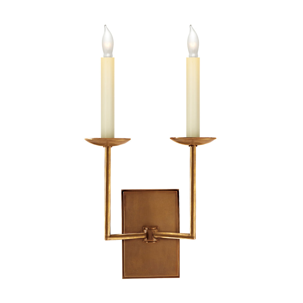 Right Angle Double Sconce in Hand-Rubbed Antique Brass