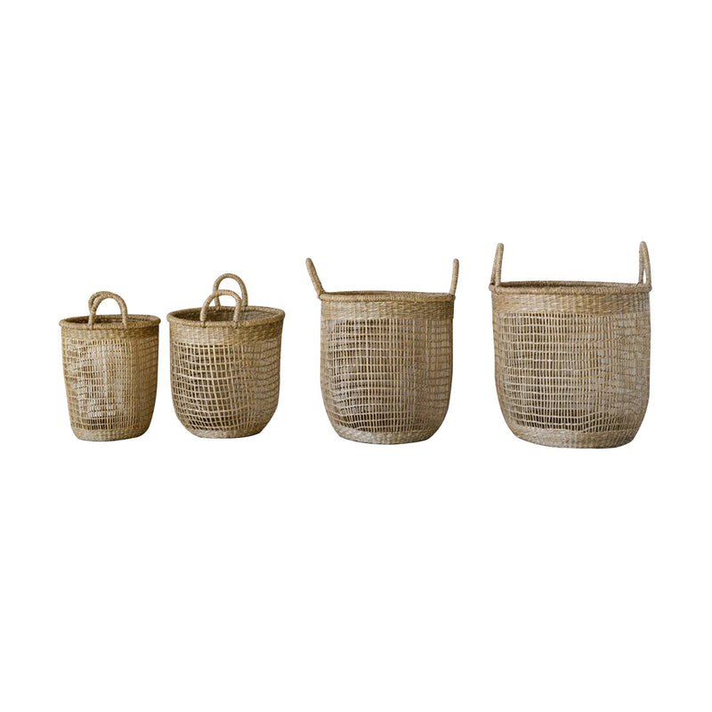 Round Hand-Woven Natural Seagrass Baskets with Handles, Set of 4