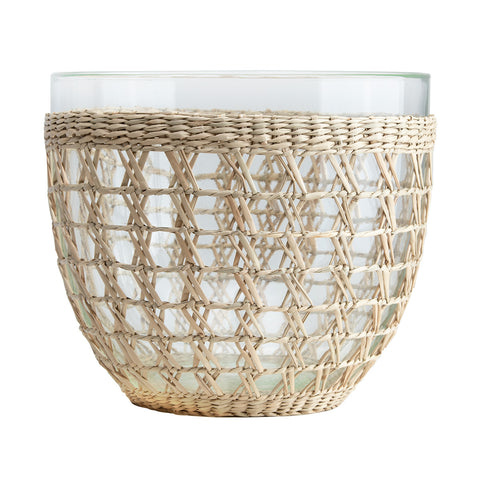 Drinking Glass w/ Woven Seagrass Sleeve