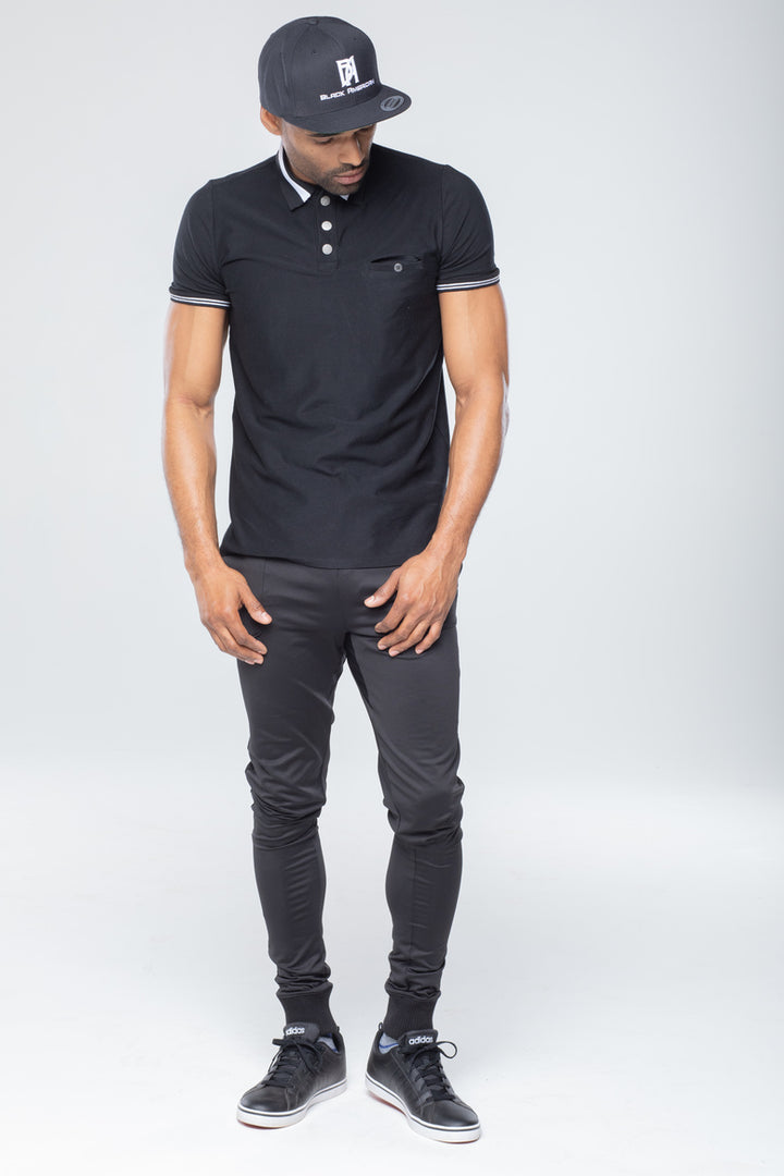 Men's Black Polo Shirt w/Jogger Pants